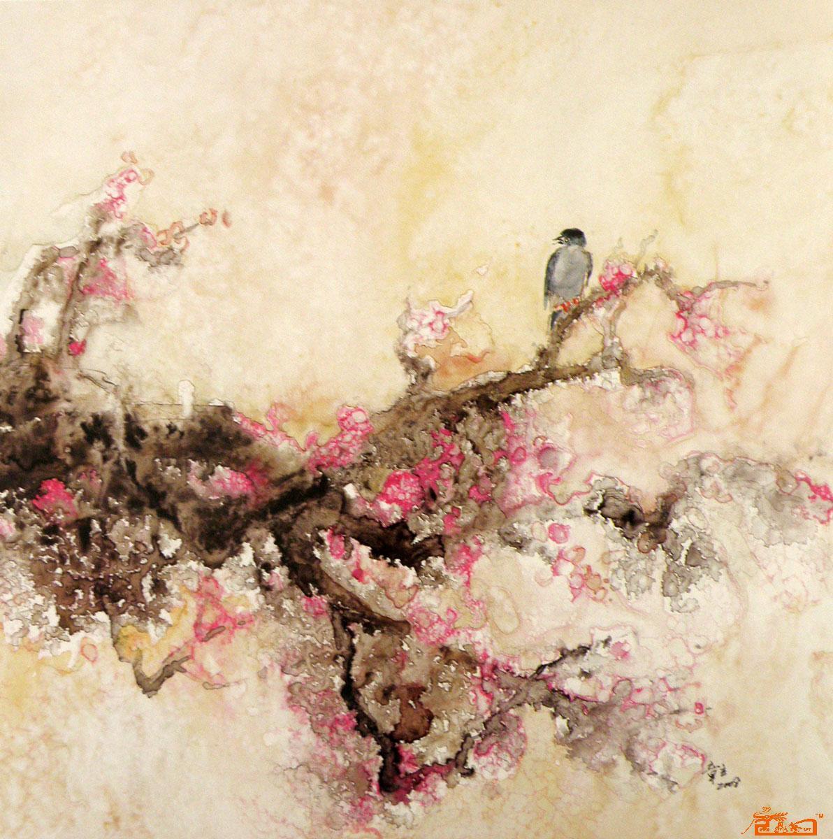 名家 章立 水彩 - 梅花与小鸟