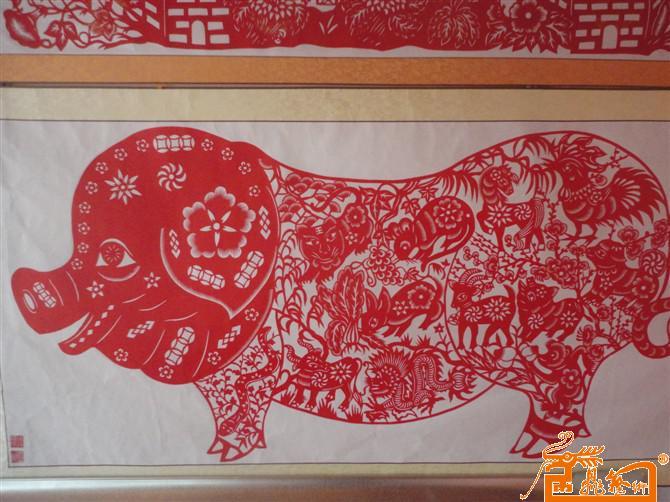 钟安霞-钟安霞剪纸生肖猪-淘宝-名人字画-中国书画,,.